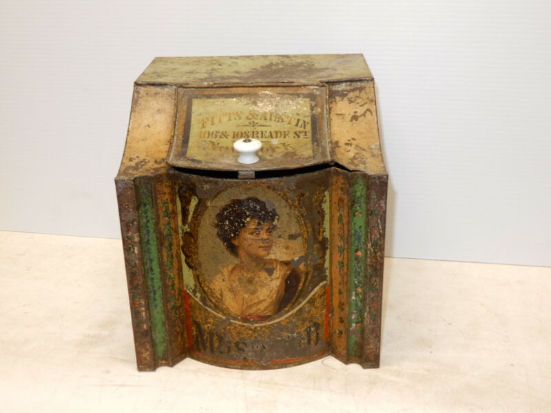 ANTIQUE GENERAL STORE BULK SPICE TIN MUSTARD FITTS AND AUSTIN NYC