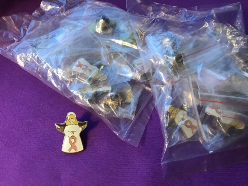 Lot of 24 New Breast Cancer Awareness White Gold Enamel Angel Pin Pins    PP350