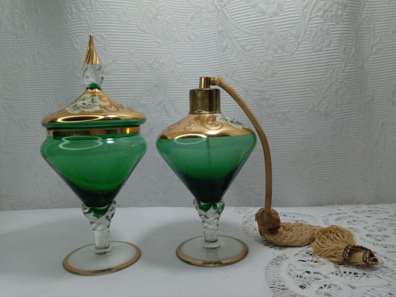 Vntg Bohemian Czech Enameled Green & Gold covered Candy Dish & decorative bottle