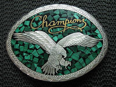 CHAMPIONS EAGLE BELT BUCKLE! VINTAGE! RARE! HAND MADE! 1983! USA! GREEN STONE!