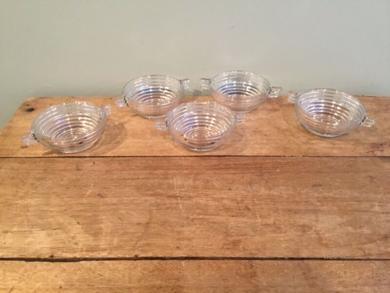 Vintage Anchor Hocking Manhattan Glass Set Of 5 Cereal Soup Berry Bowls Ribbed