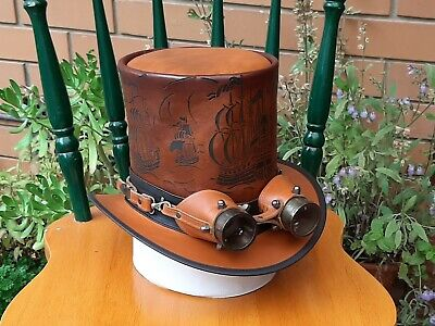 NAUTICAL THEME ETCHED SPANISH GALLEON SHIPS LEATHER STEAMPUNK TOP HAT W. GOGGLES