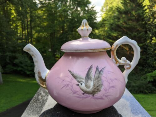 Antique Pink w/Gold Trim English Porcelain Teapot Painted Birds - Unattributed