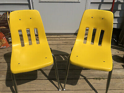 2 School Chair Distance Learning Virtual Vintage 1970s Virco Martest 14 Yellow