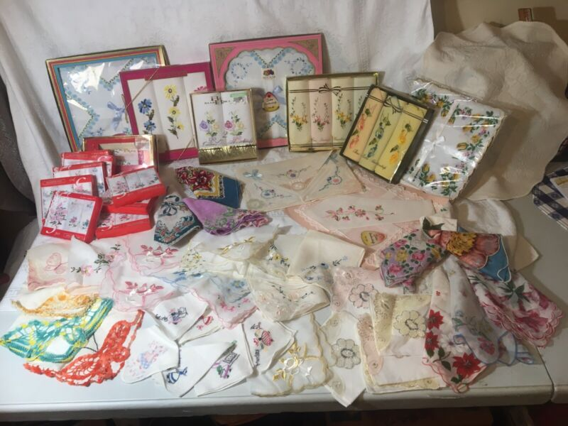 Vintage Lot Of 95 Handkerchiefs Most New And Vintage