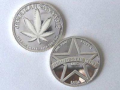 1/10th Troy Oz Pure .999 Solid Silver Jamaican White Dream Cannabis Bullion Coin