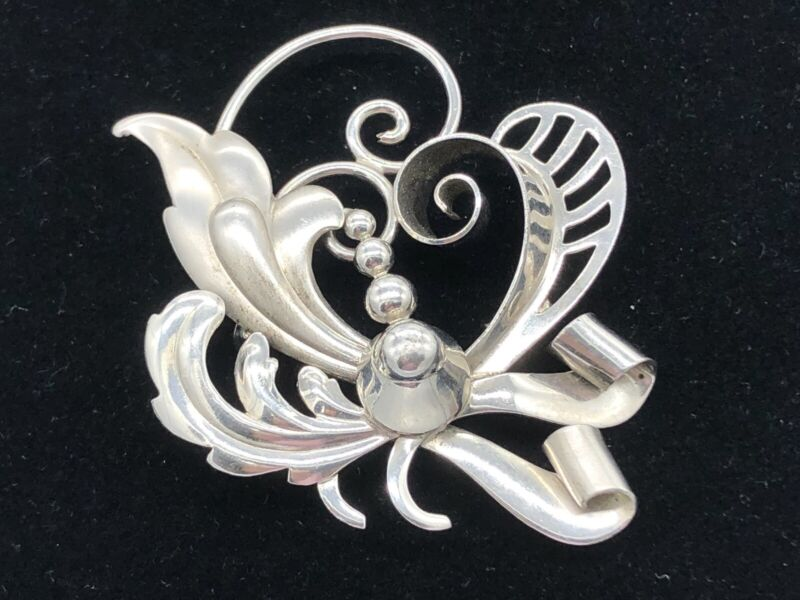 Brooch Pin Vintage Carl Art 925 Sterling Abstract Flourishes Signed Arrow C A