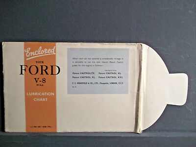 FORD V-8 (30hp)  - 1938 - CASTROL LUBRICATION CHART in Original Envelope