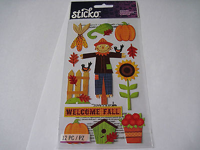 Scrapbooking Stickers Crafts Sticko Welcome Fall Scarecrow Pumpkins Corn Birds (Scarecrow Crafts)
