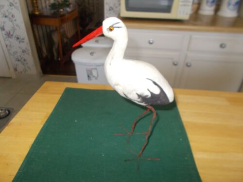 EARLY 1900S LARGE SIZE STORK CANDY CONTAINER WITH WIRE FEET WOOD BEAK OPENING WI