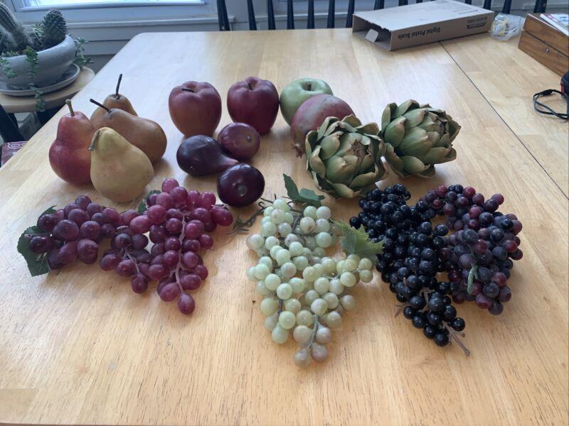 Realistic Artificial Fruit artichoke pears apples grapes