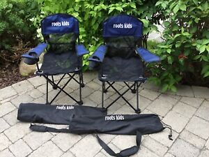 Roots Kids fold up chairs with carrying bag