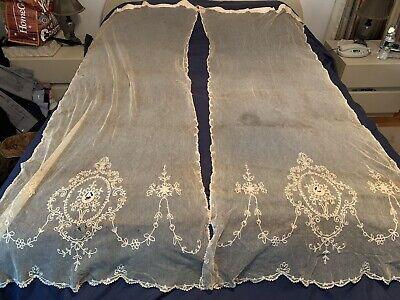 2 BEAUTIFUL Pair of Antique Tambour Net Lace Curtain Panels Florals FINE NET