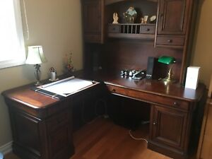 Great Deal! Elegant Solid Wood L-Shaped Desk + Hutch Unit!