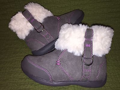 STRIDE RITE Surprize Girls Fashion Boots DelRae Gray Faux Fur 5 6 7 8 9 10 11 12