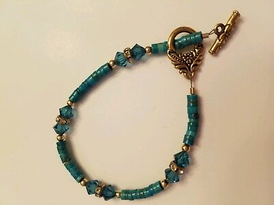 Czech Glass Hand Cut Beaded  Aquamarine type Art Deco Color Bracelet Brass Clasp Color Hand Cut Glass