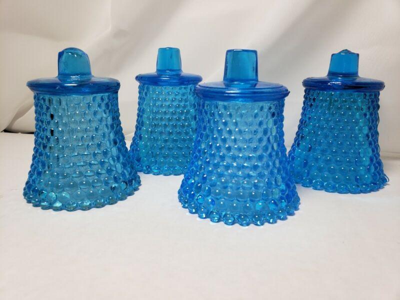 Lot Of 4 Aqua Blue Hobnail Votive Cups