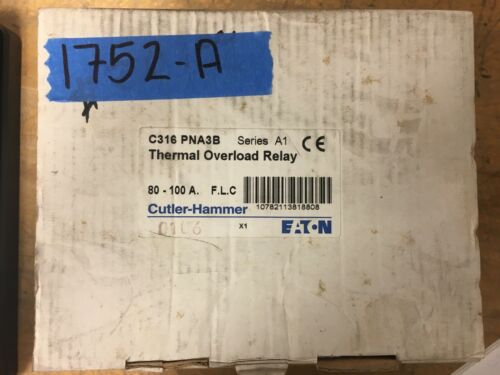 NEW Cutler Hammer Eaton C316-PNA3B series A1 Thermal Overload Relay 80-100A