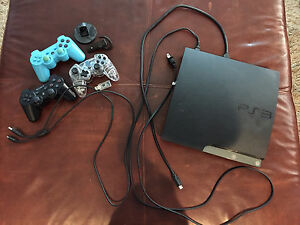 PS3 with games, controllers, headset