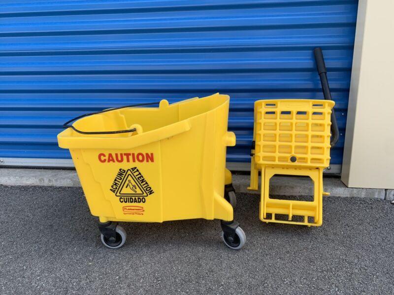 26 Quart Press Wringer Commercial Yellow Mop Bucket