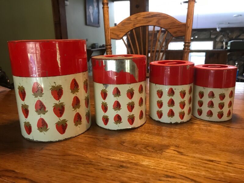Vintage Metal Kitchen Canister Nesting containers Japan strawberry fruit red
