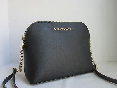 Michael Michael Kors Black Cindy Large Dome Crossbody Leather Bag Handbag