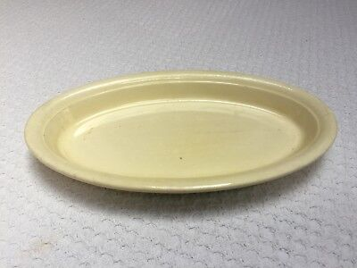 "Homer Laughlin Oven Serve Embossed Ivory with Green 9-1/2"" Fish Plate"