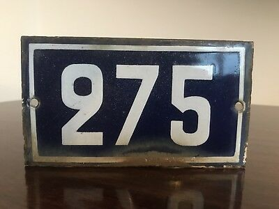 Genuine Early 20thC FRENCH ENAMEL HOUSE NUMBER - Number 275