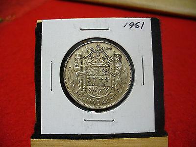 1951  CANADA  SILVER  HALF  DOLLAR  50 CENT PIECE   51   GOOD  GRADE