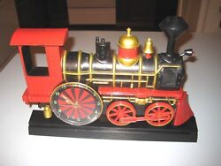 STEAM LOCOMOTIVE TRAIN ENGINE ANIMATED WALL CLOCK 1997 Moving Dial & Wheels