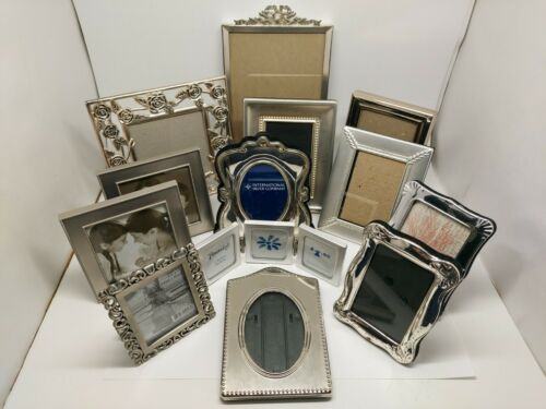 Lot of 13 Silver Tone Metal Assorted Picture Photo Frames Some New Some Used