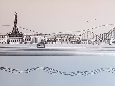 Original A5 Artwork Pen Drawing Blackpool Tower Seaside Beach Christmas Gift