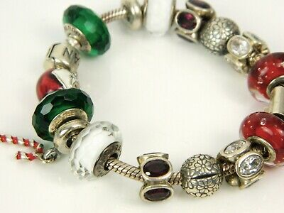 Holiday Enamel - Pandora Christmas Holiday Santa Enamel Colorful Sterling Silver Charm Bracelet