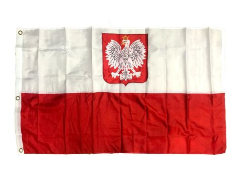 Poland Polish Old Poland with Eagle 2 Ply 300D Embroidered Flag New 3