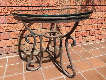 Great Vintage Iron and Glass top small table