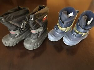 2 TODDLER BOYS WINTER BOOTS, SIZE 7, SOREL AND ARCTIC TRACKS
