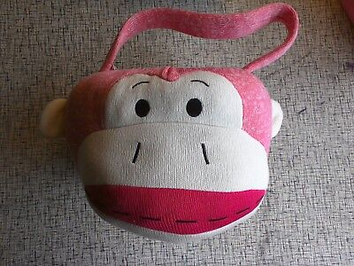 Easter Basket Halloween Costume (Pink Sock Monkey Halloween Costume Plush Easter Basket Bag Bucket)
