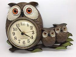 New Haven Quartz Owl Clock; Vintage Burwood Products Co - Needs Repair! (RF664)