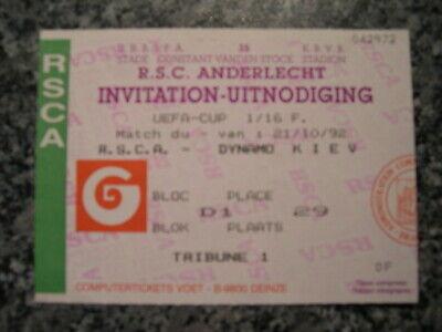 Ticket: Anderlecht - Dynamo Kiev UEFA (21-10-92)