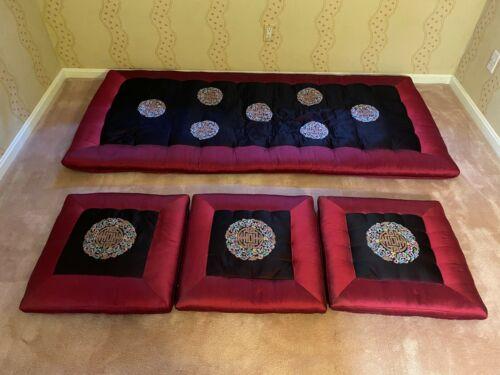Vintage Korean Fancy Silk Mattress & 3 Sitting Cushions w/Floral Embroidery