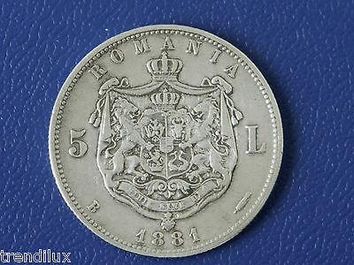Rumänien - 5 Lei 1881 Silber Kullrich am Hals