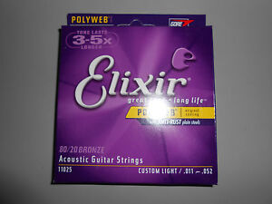Elixer Polyweb Custom Light 11-52 Acoustic Guitar Strings!