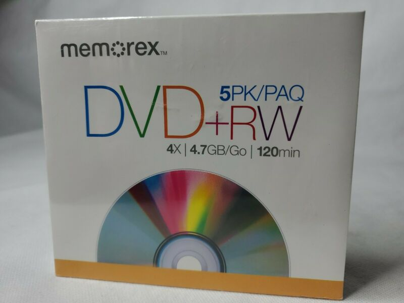 Memorex DVD+RW Discs 4X 4.7GB 5 Pack New Sealed 120 Min Free Shipping