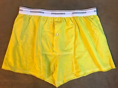DSQUARED 2 YELLOW INK SPLATTER BOXERS SHORTS UNDERWEAR S S MADE IN ITALY