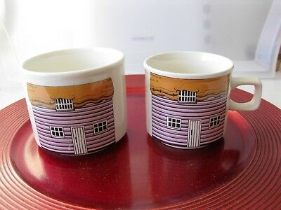 TWO THATCHED COTTAGE HOUSE MUGS - JUG - PEPPER POT - No stopper  ORIGINAL
