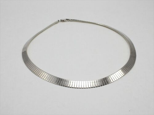 925 Italy Sterling Silver Signed Milor Graduated-Size Bar Link Chain Necklace