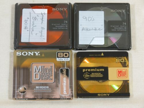 4 Sony MiniDisc,Unknown Content,1 is NEW,74,80,MD,Mini Disc