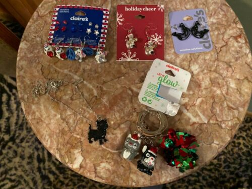 Lot of 5 New Claire's Earrings Keychain Necklace Set Kitty Cat Christmas July 4