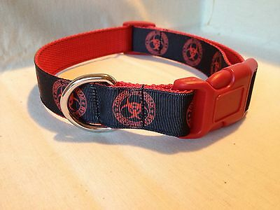 "Zombie Outbreak Response Team Red On Black Ribbon Dog Collar 1""Adjustable Collar"