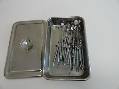 Lot Of 24 Dental Instrument Mirrors With Case